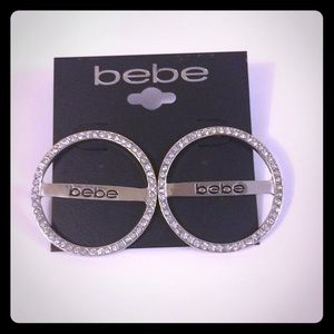 Bebe logo round circle earrings